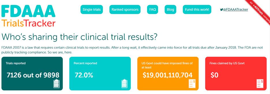 fdaaa section 801 requirements, FDAAA Trials Tracker screenshot
